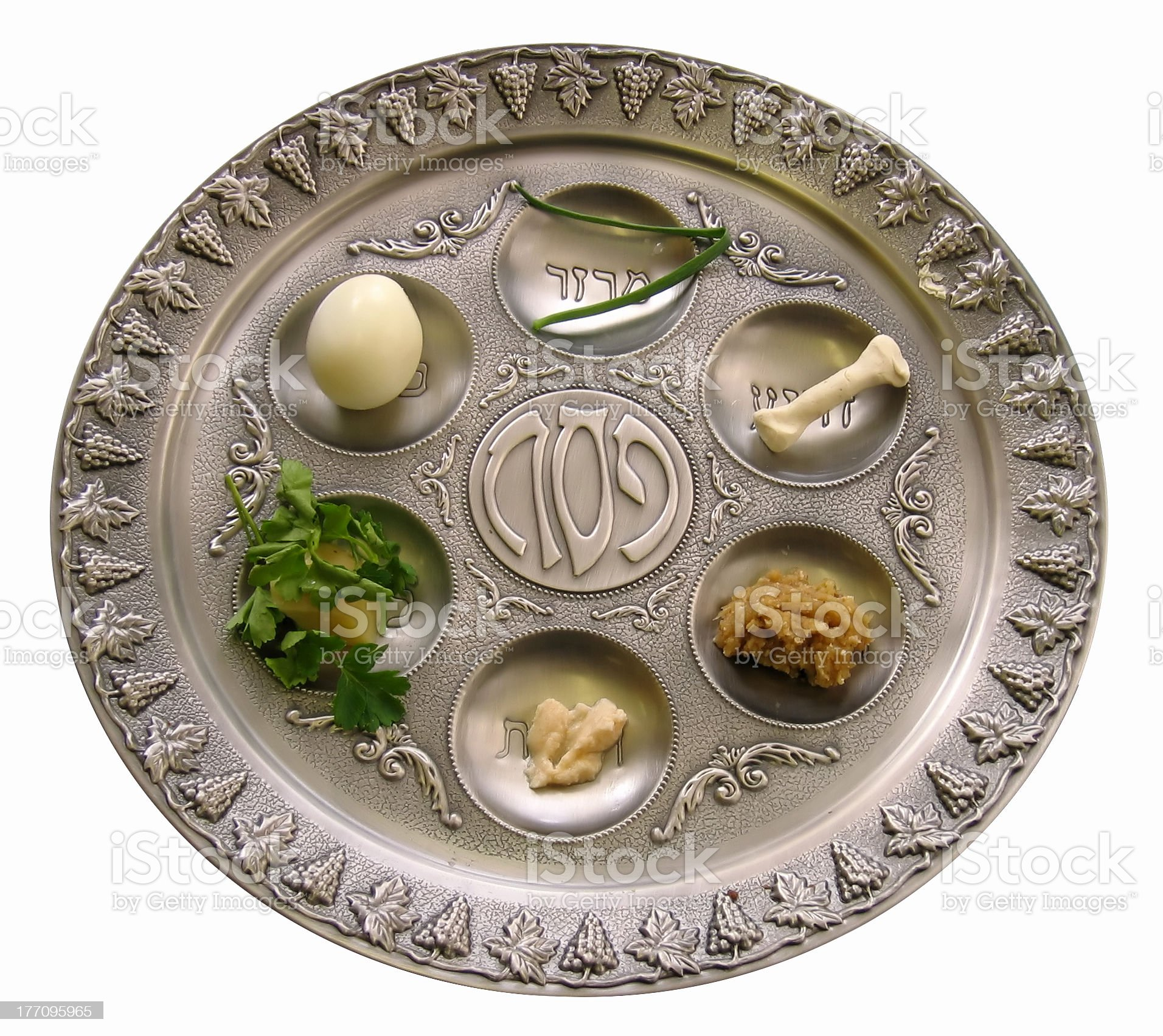 Silver Sedar plate with foods for the Passover celebration royalty-free stock photo