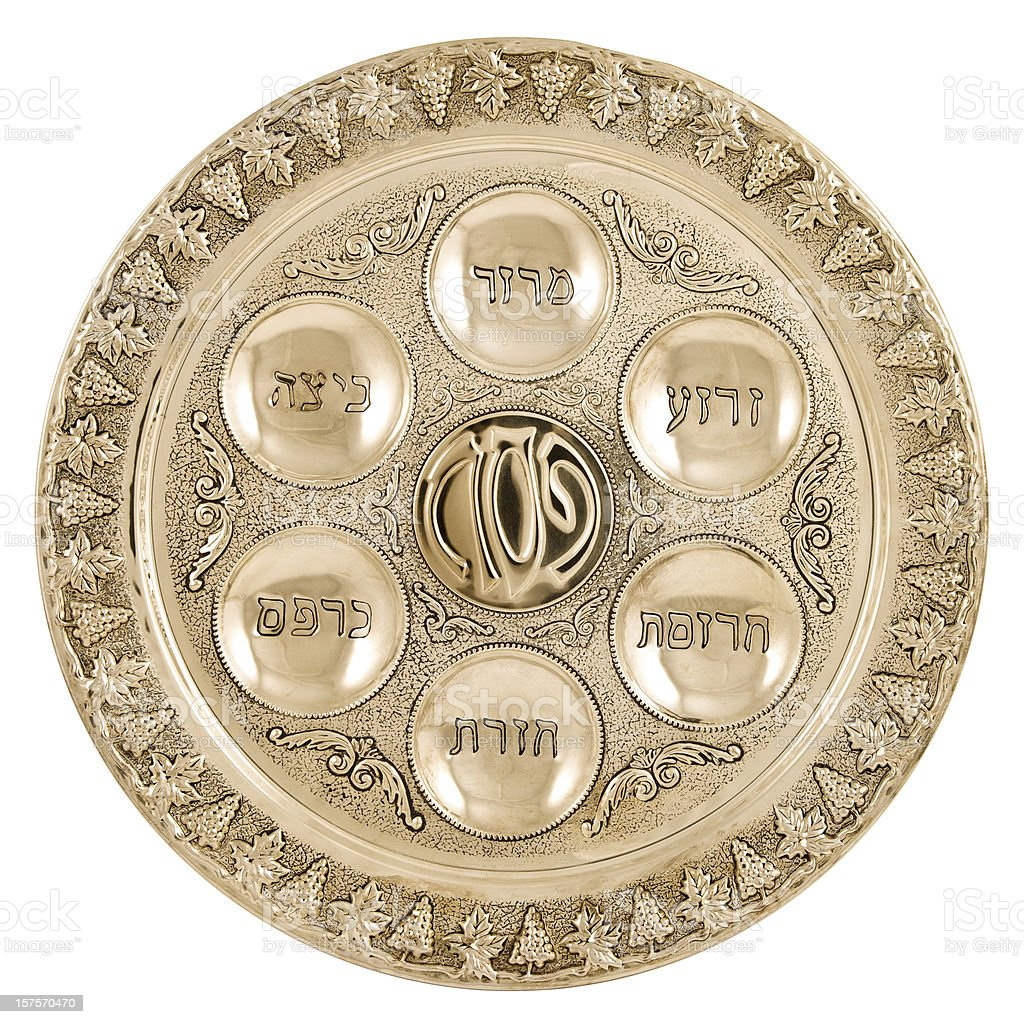 Silver seder plate stock photo