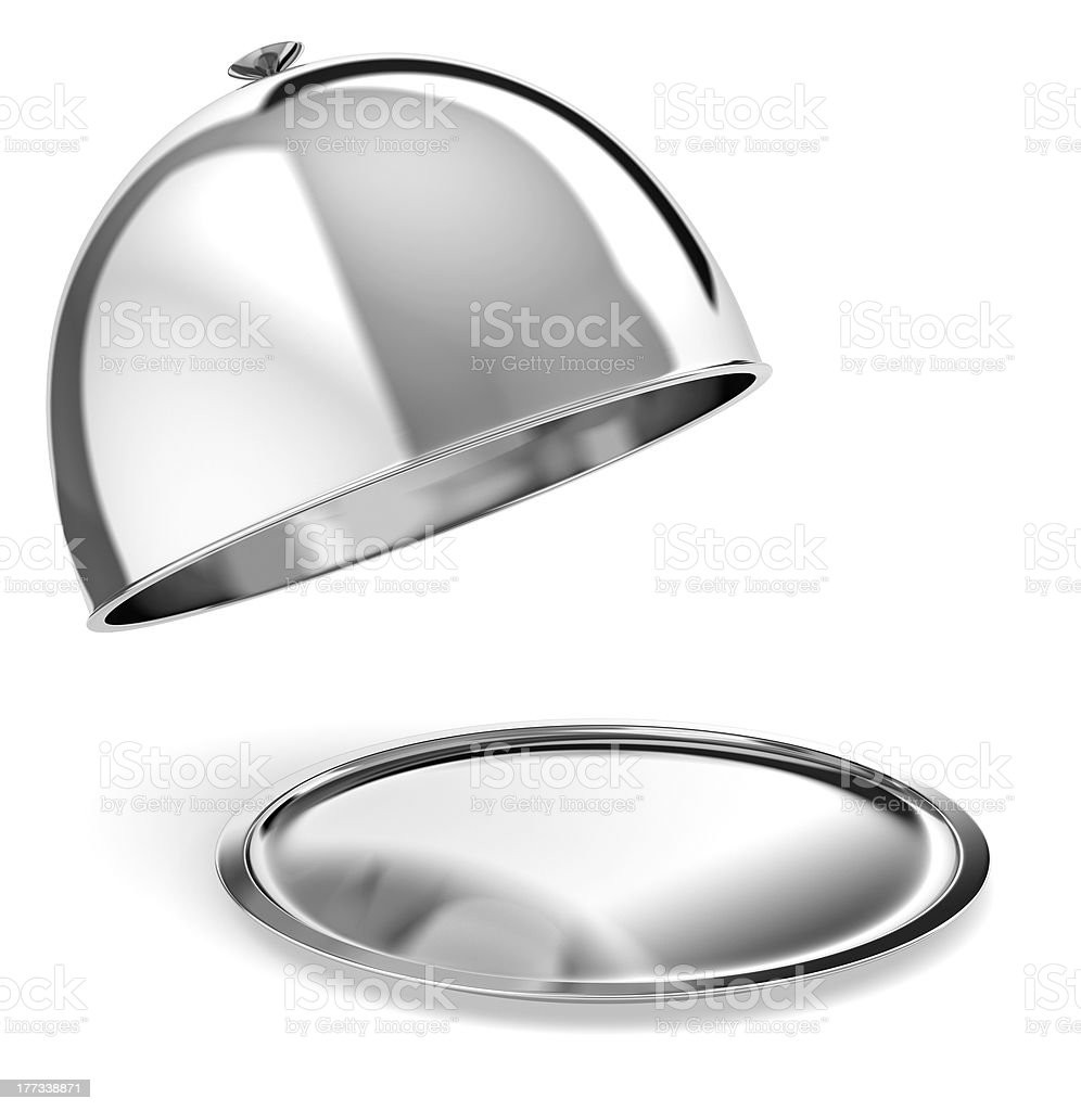 Silver serving tray stock photo