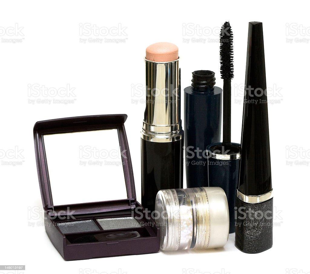 Conjunto de prata para make-up, eyeshadows, Rímel e escova foto de stock royalty-free