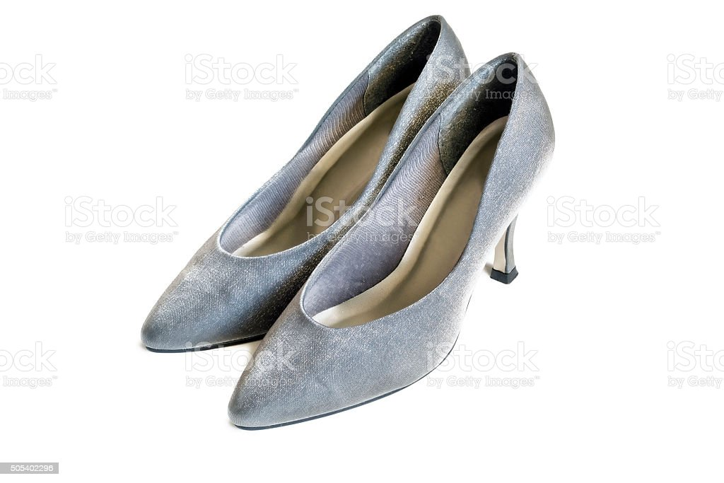 Silver shoes stock photo