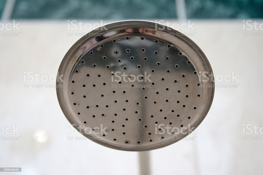 Silver Shower Head in the Bathroom stock photo