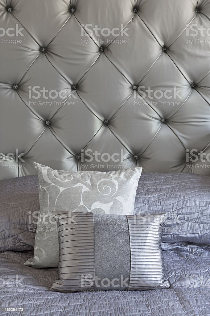 Bedding Bedroom Decor Home Interior Pillow silver silk cushions  Silver  Silk Cushions And Headboard stock. Silver Cushions Bedroom