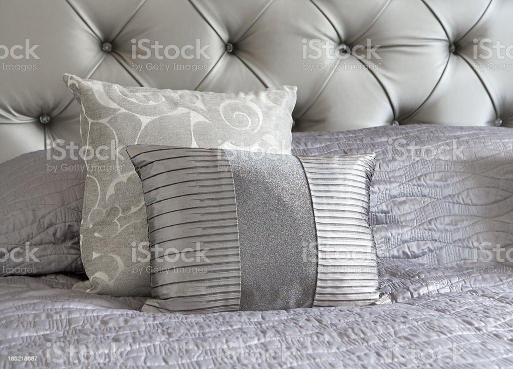silver silk cushions royalty-free stock photo