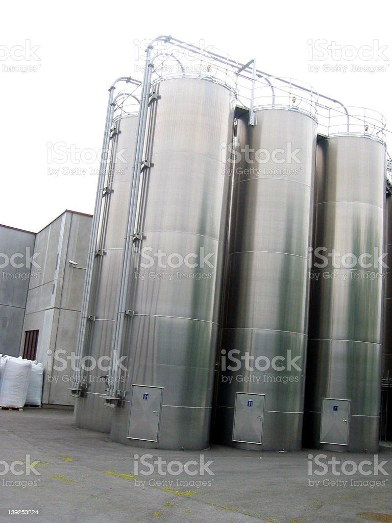 silver silos stock photo