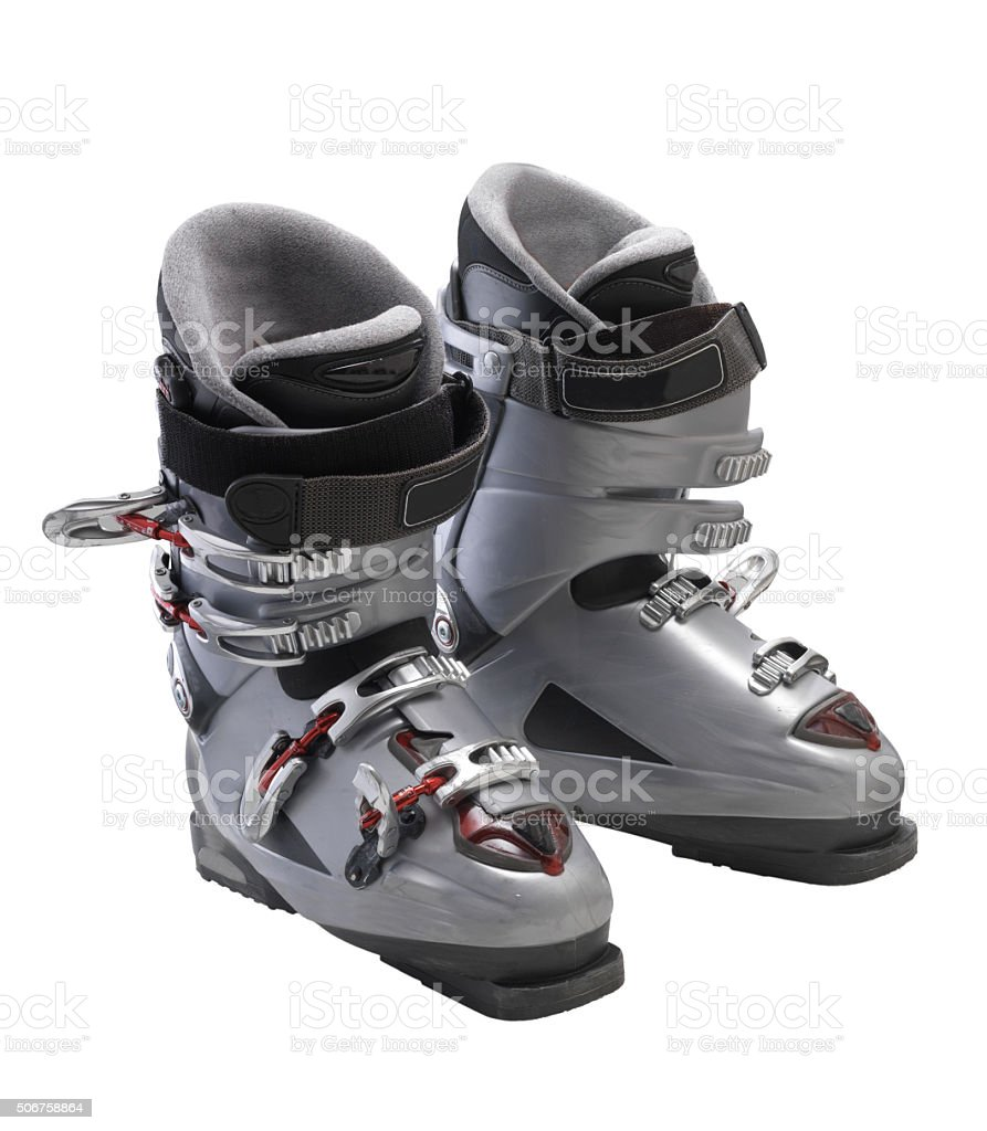 Silver Ski Boots stock photo