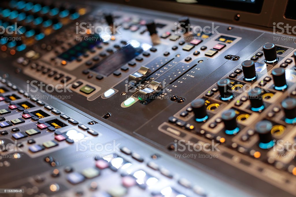 Silver sliders of the Hi-End stage controller stock photo