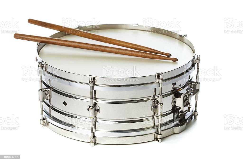 Silver Snare Tin Drum with Sticks stock photo