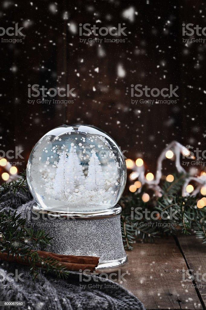 Silver Snow Globe stock photo