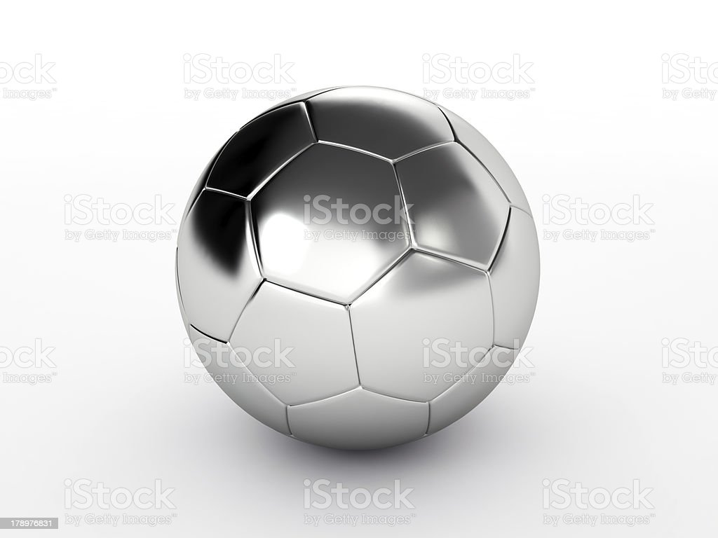 Silver soccer ball isolated on white royalty-free stock photo