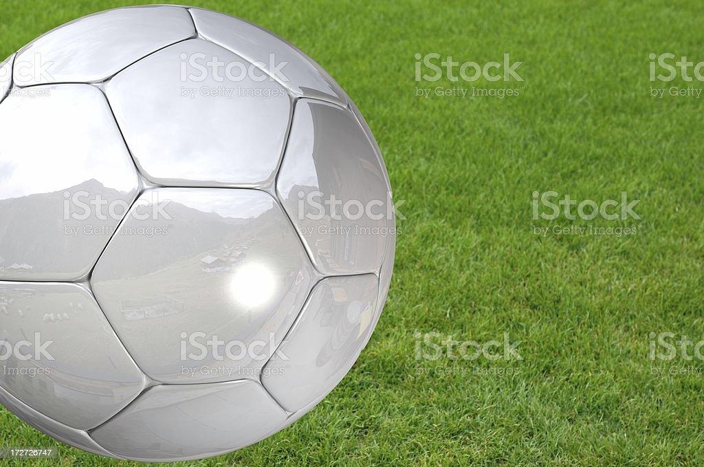 Silver Soccer Ball royalty-free stock photo