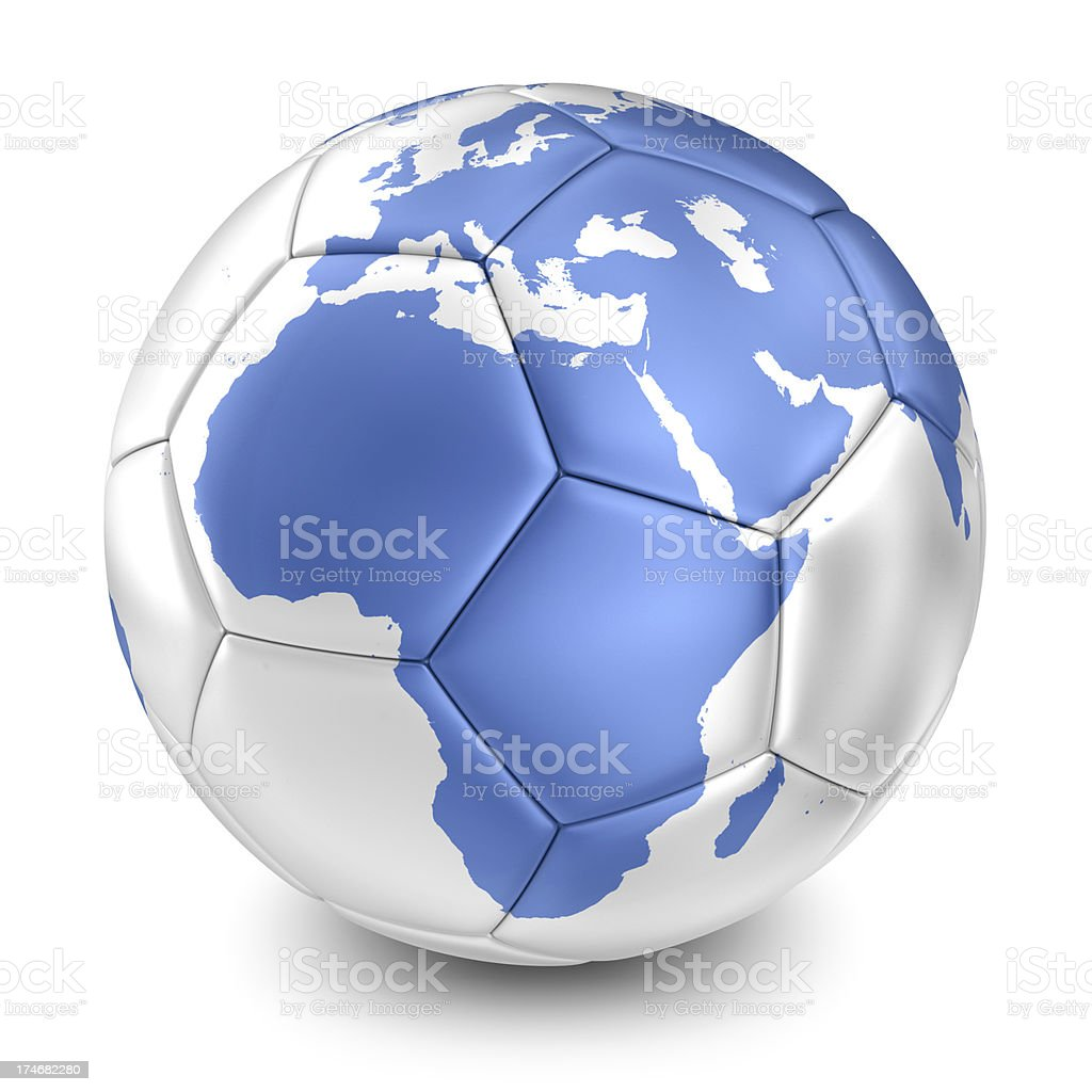 silver soccer ball with blue earth map royalty-free stock photo