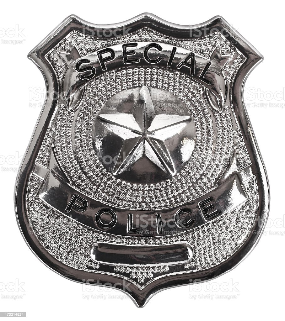 Silver special police badge on white background stock photo