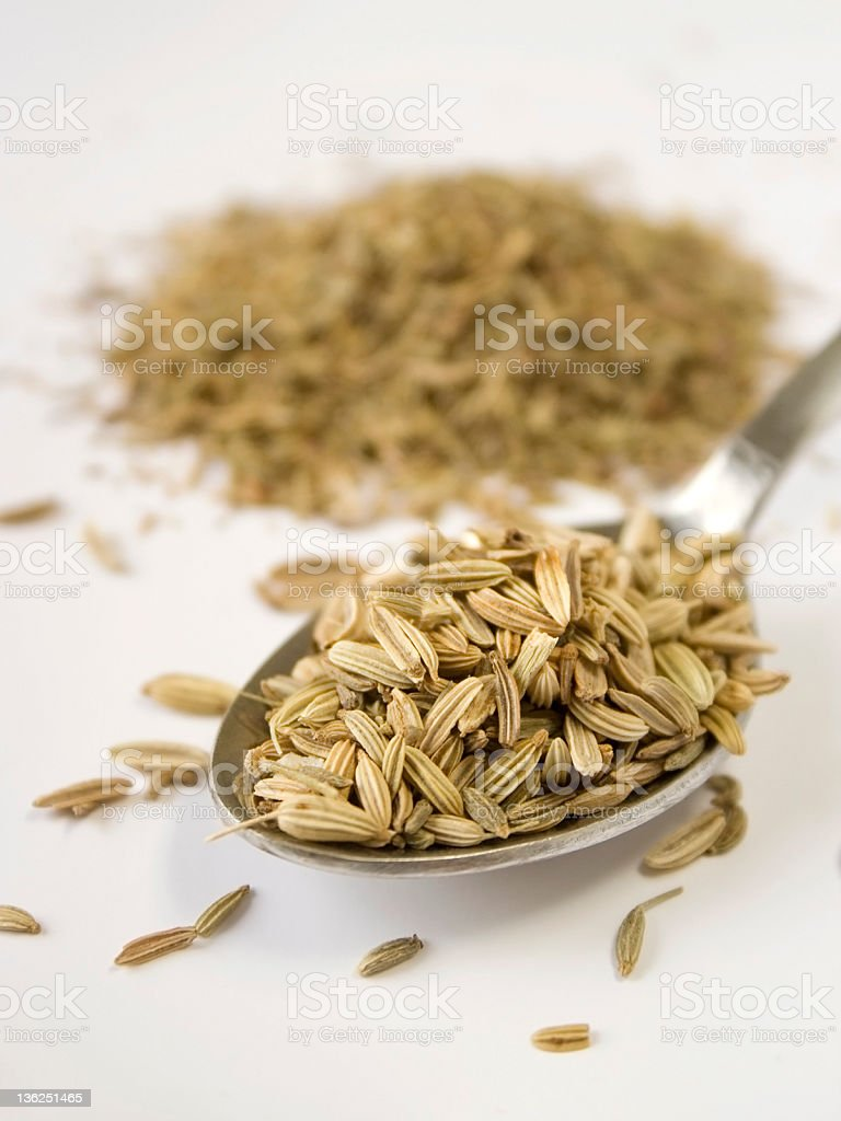 Silver spoon containing fennel seeds. royalty-free stock photo