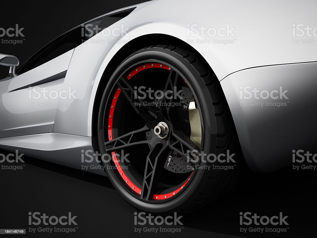 Silver sport car on black studio background royalty-free stock photo