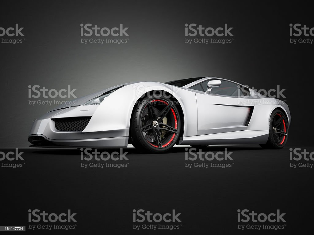 Silver sport car on black studio background stock photo