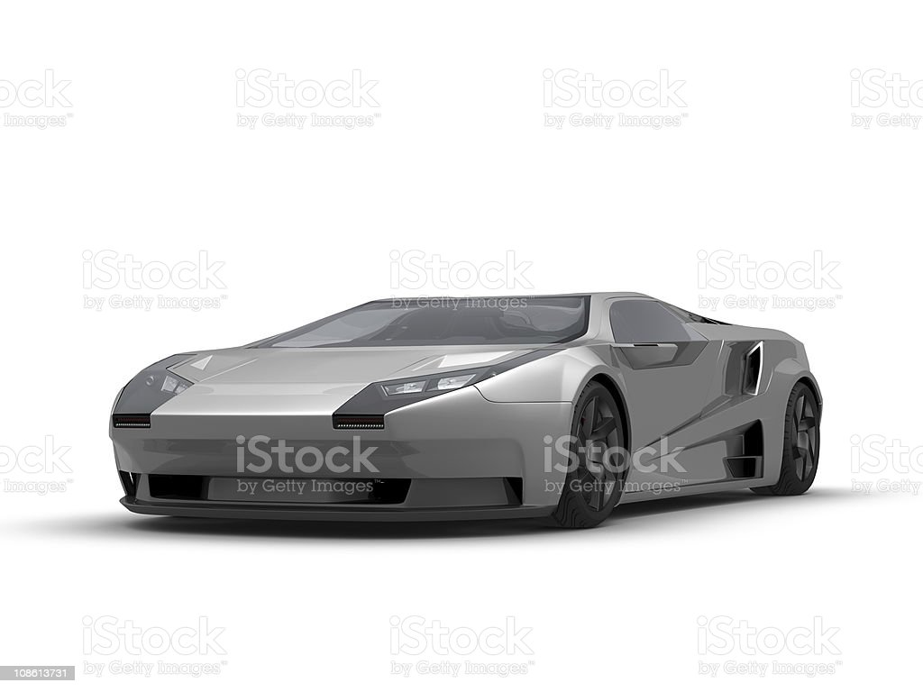 Silver sport car on white background royalty-free stock vector art