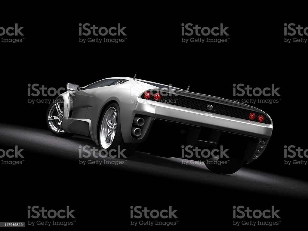 Silver Sports Car on dark background royalty-free stock photo
