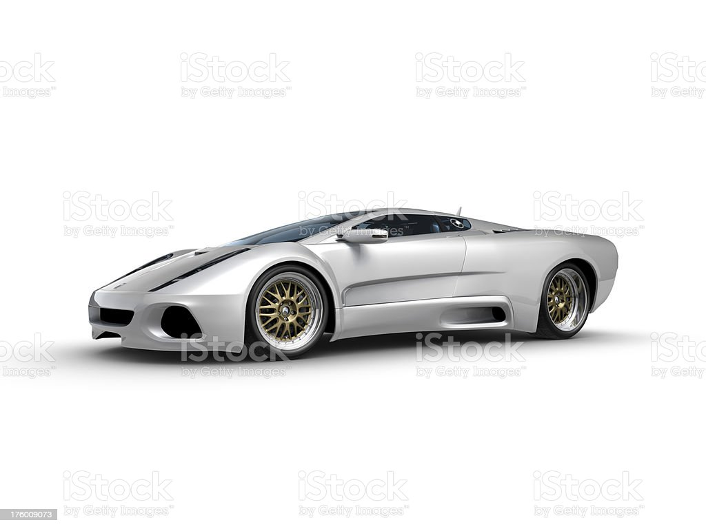 Silver Sports car on white background stock photo