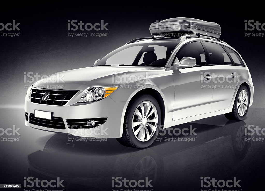 3D Silver Sports Car stock photo