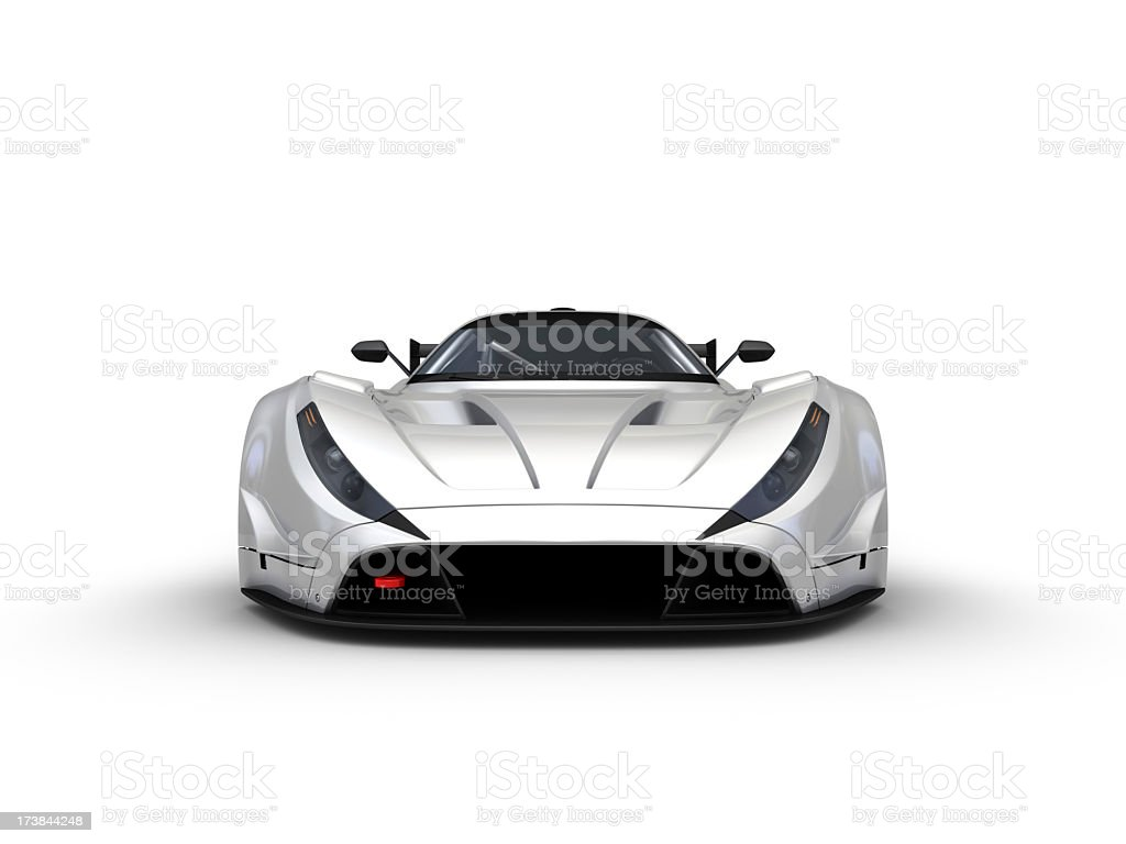 A silver sports racing car on a white background  stock photo