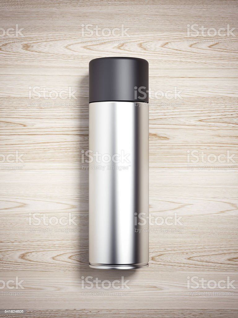 Silver spray can. 3d rendering stock photo