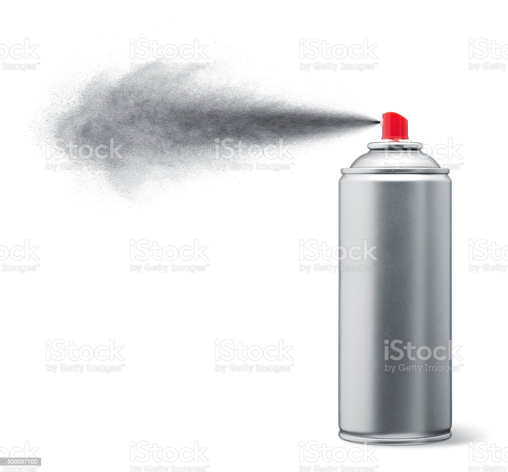 silver spray paint stock photo