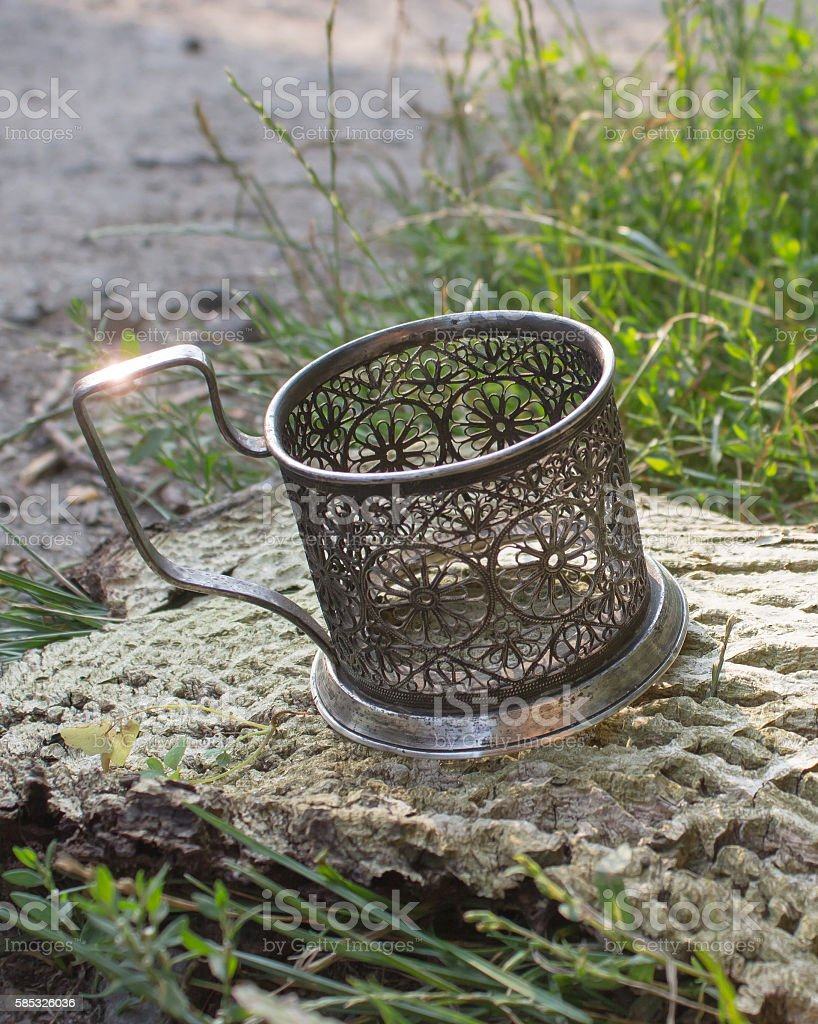 silver stand for glasses stock photo