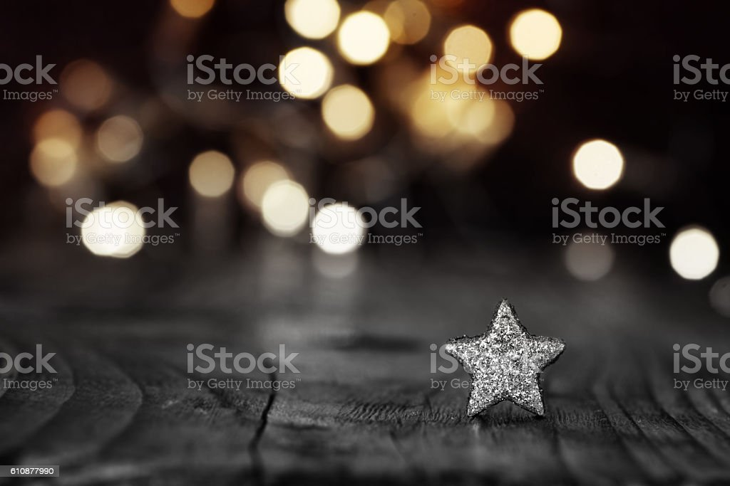 Silver Star on festive background stock photo
