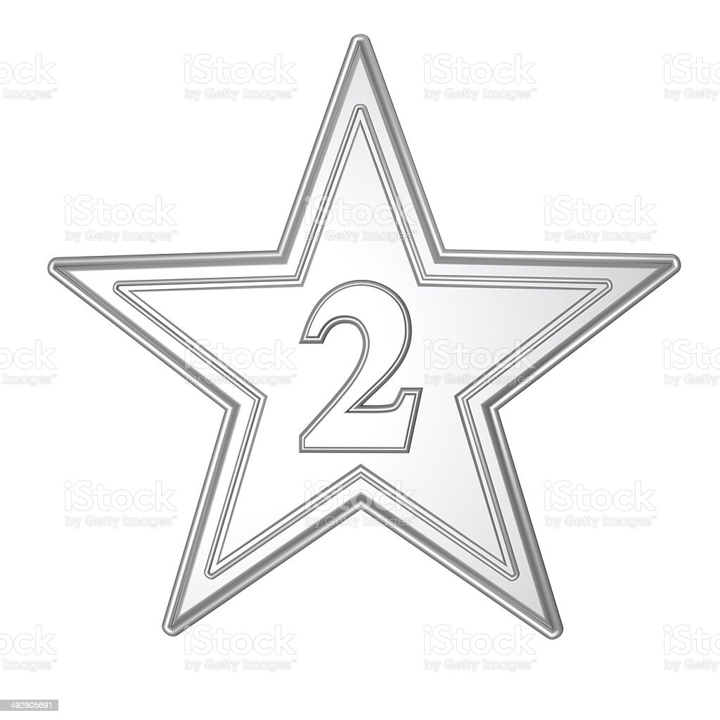 Silver Star Second Place Number 2 royalty-free stock photo