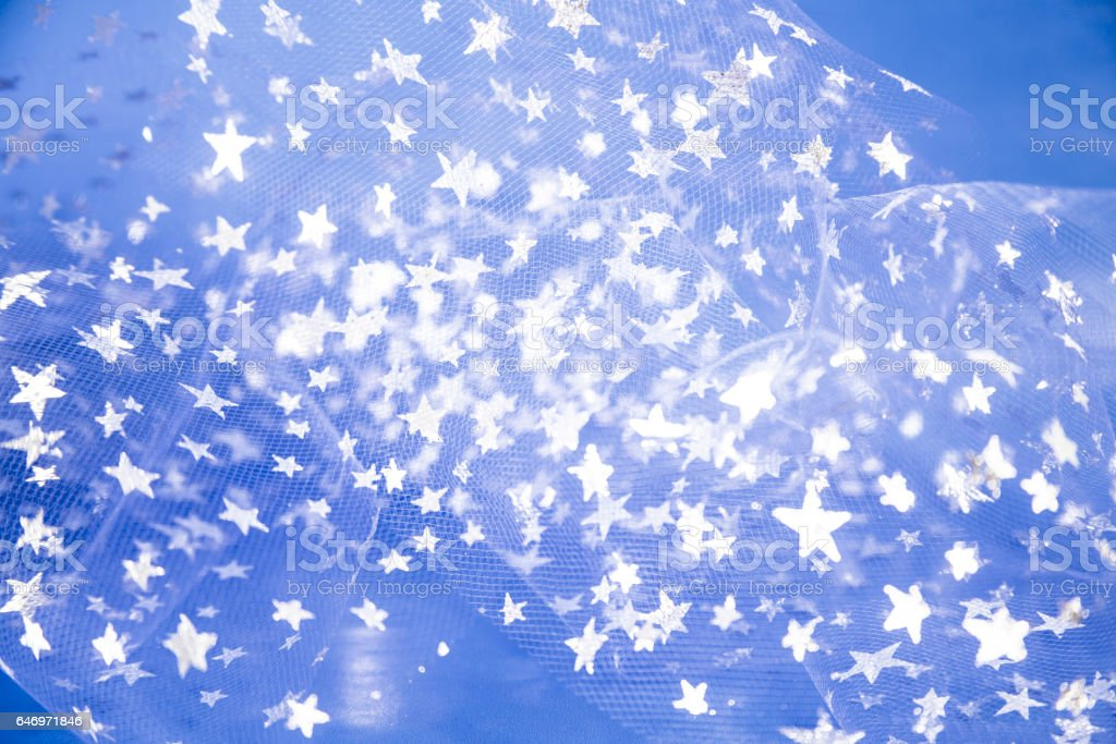 Silver stars on blue background. stock photo