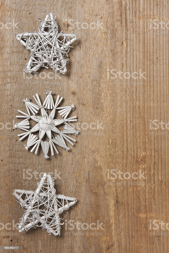 Silver stars on wood royalty-free stock photo
