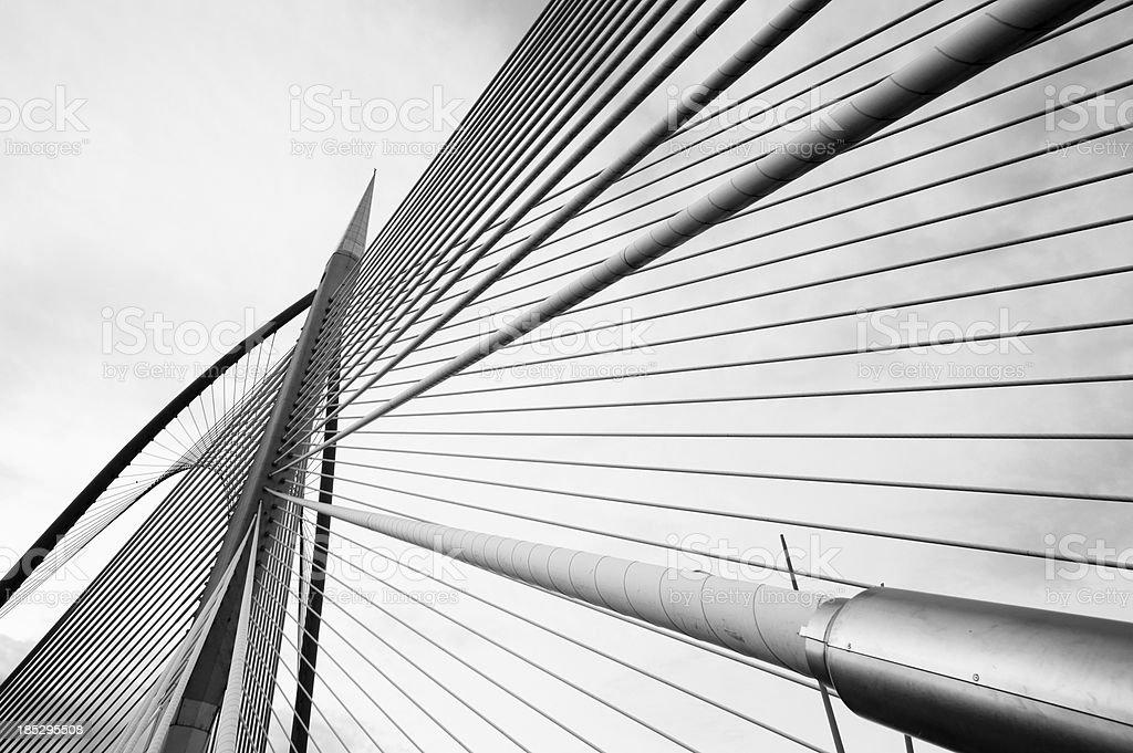 silver steel bridge stock photo