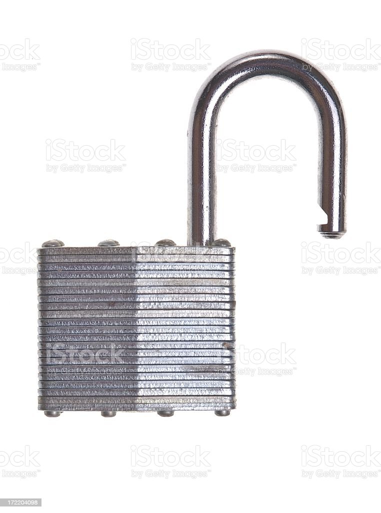 Silver steel locking device opened stock photo