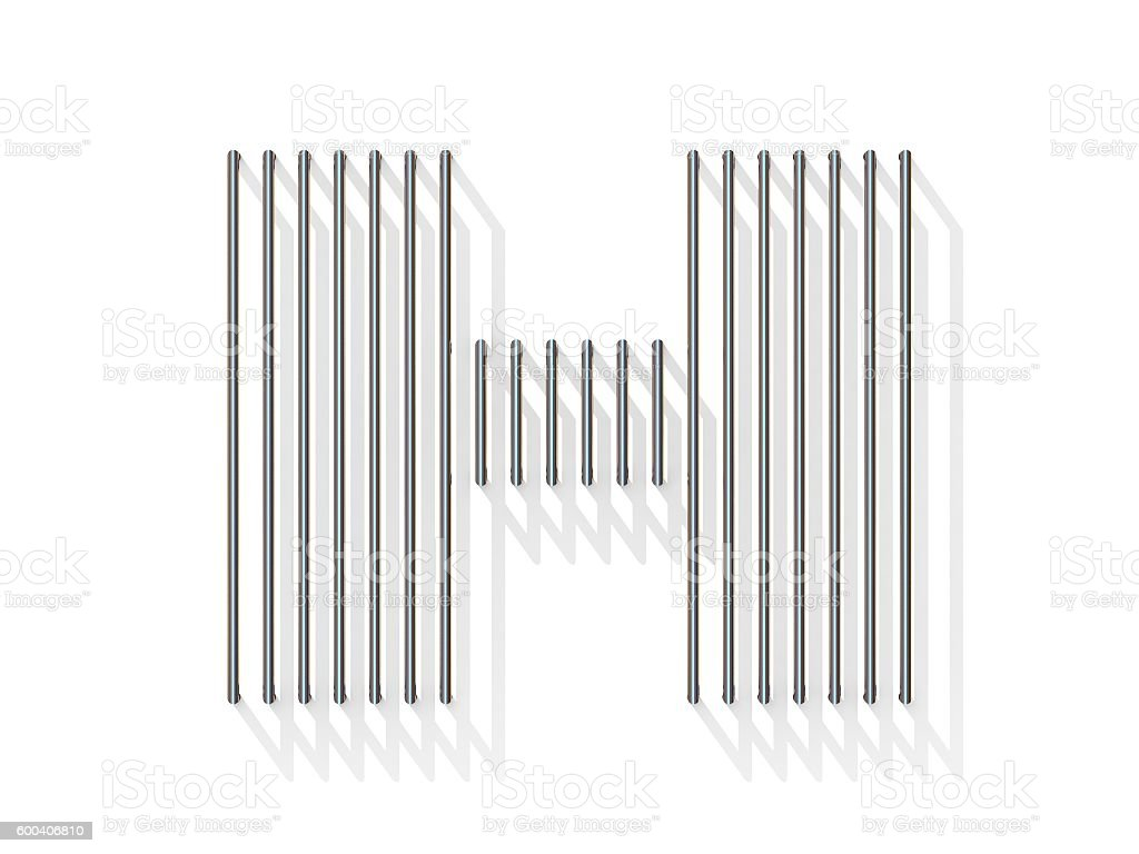 Silver, steel wire font. Letter H stock photo