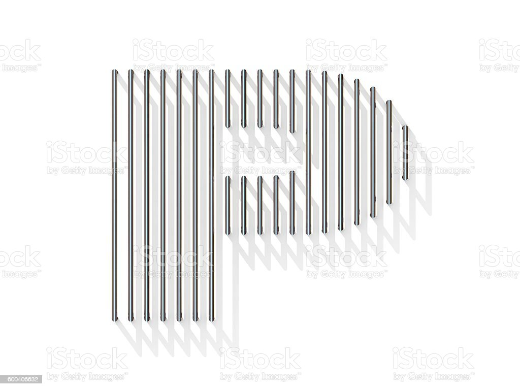 Silver, steel wire font. Letter P stock photo