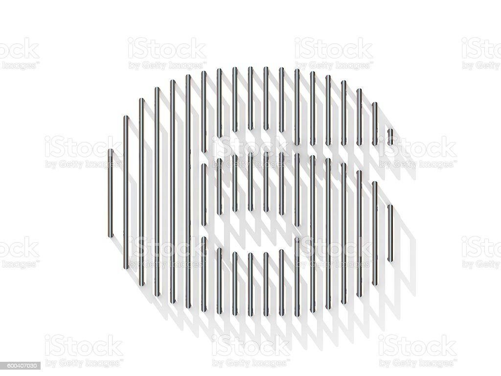 Silver, steel wire font. Number SIX 6 stock photo