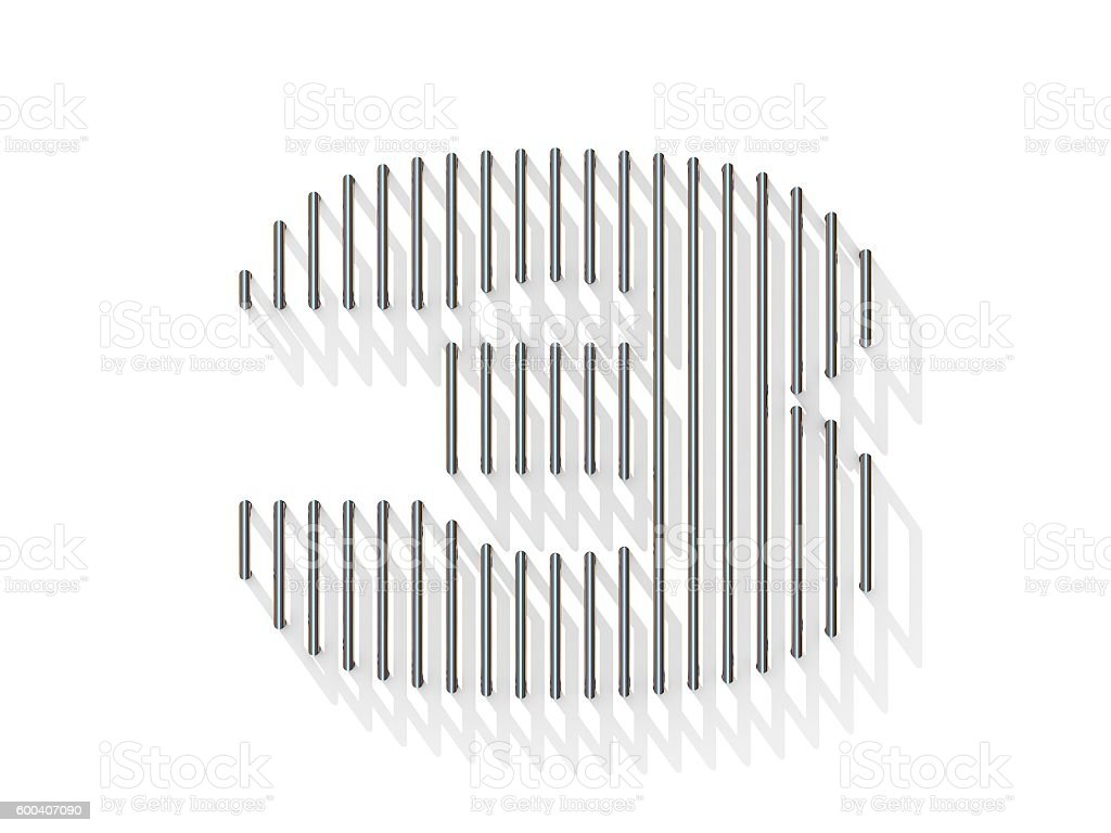Silver, steel wire font. Number THREE 3 stock photo