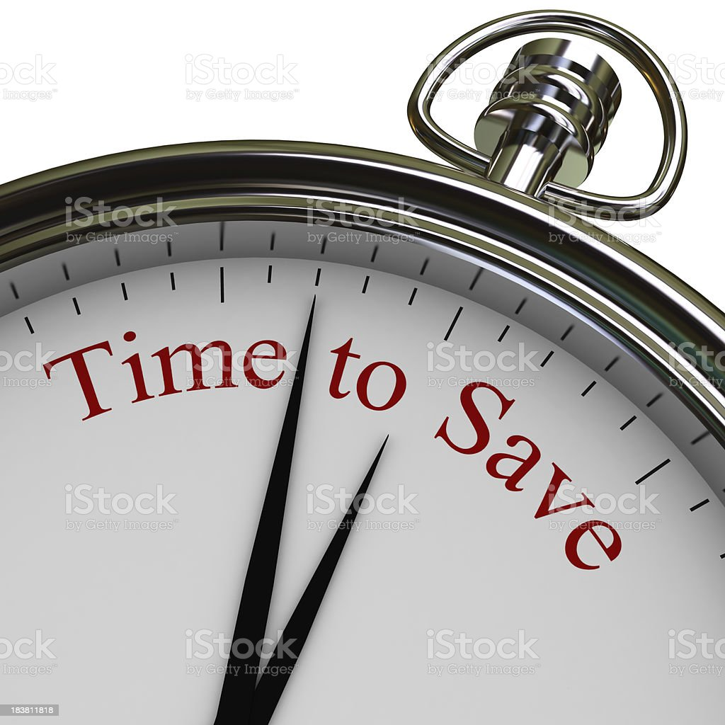 A silver stopwatch that says time to save in red letters stock photo