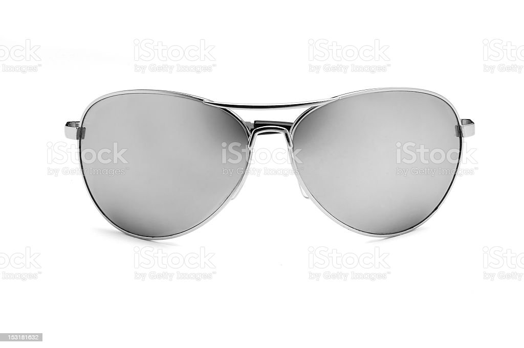 Silver sunglasses on white background stock photo