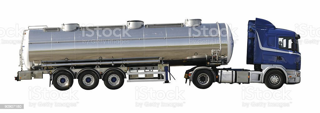 Silver tank truck - with clipping paths royalty-free stock photo