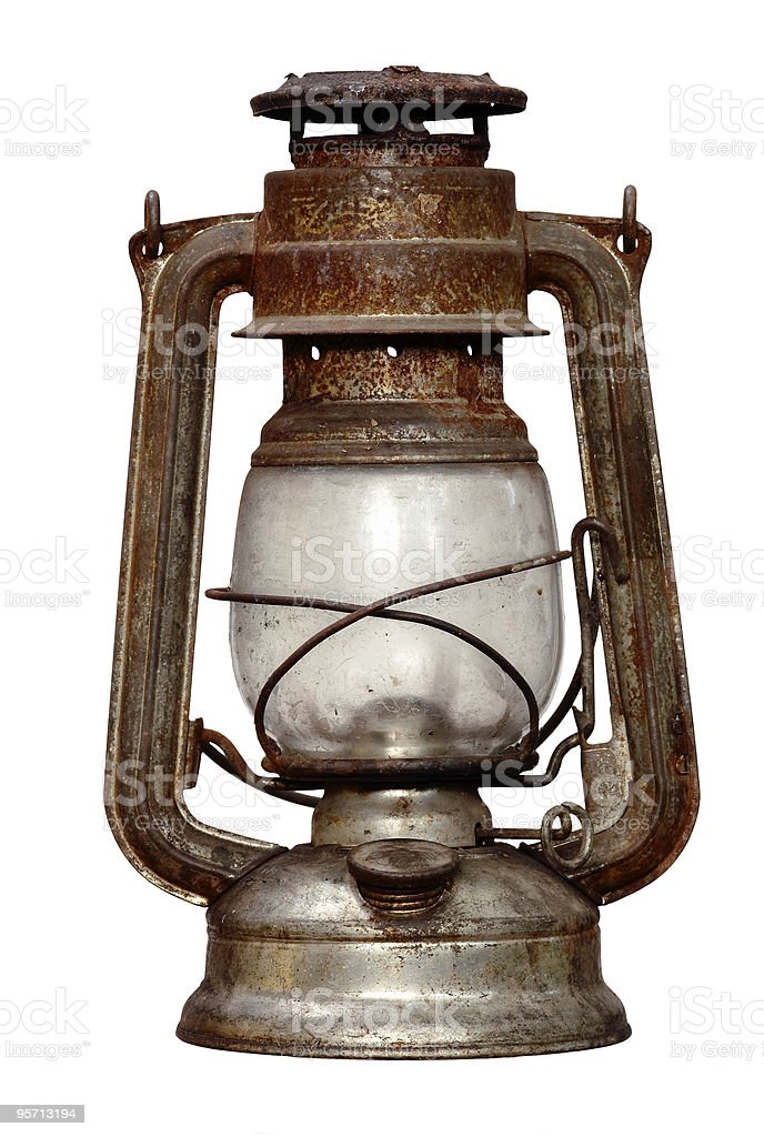 Silver tarnished oil lamp on a white background stock photo