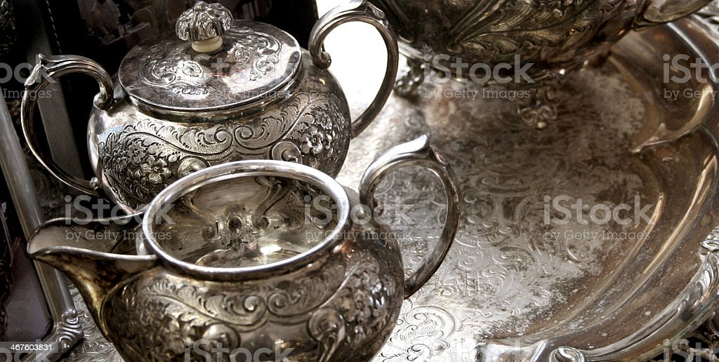 Silver Tea Service stock photo