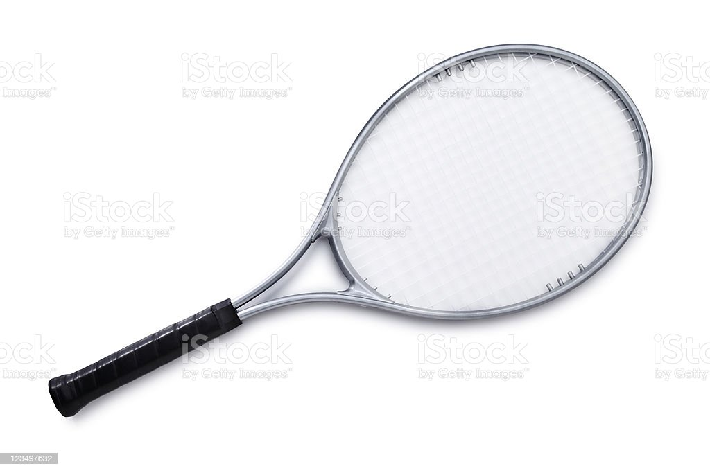 Silver Tennis Racket Isolated on White stock photo