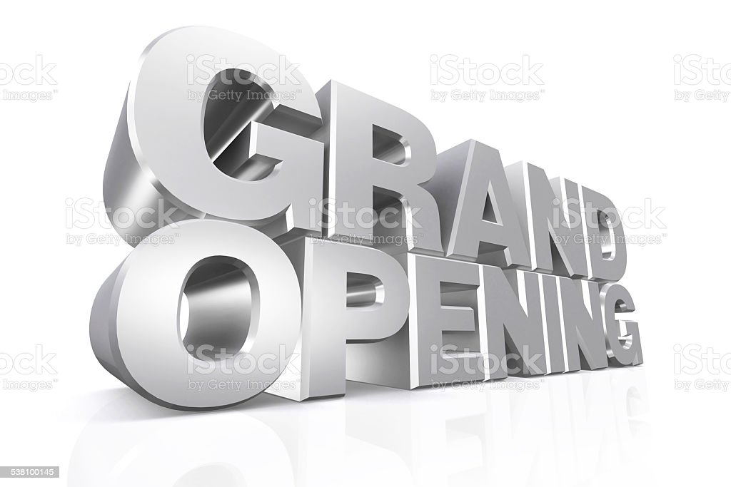 3D silver text grand opening. stock photo