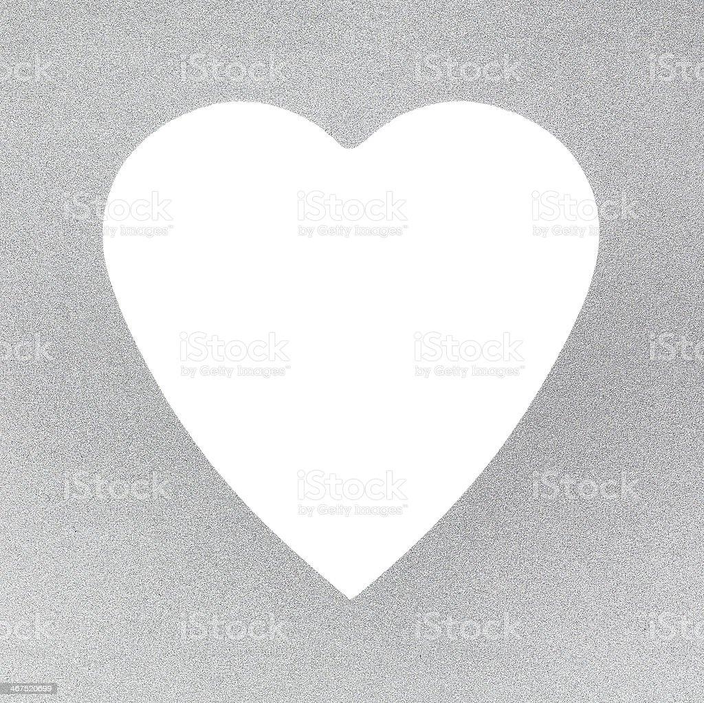 Tessuto argento e montatura bianca con cuore foto stock royalty-free
