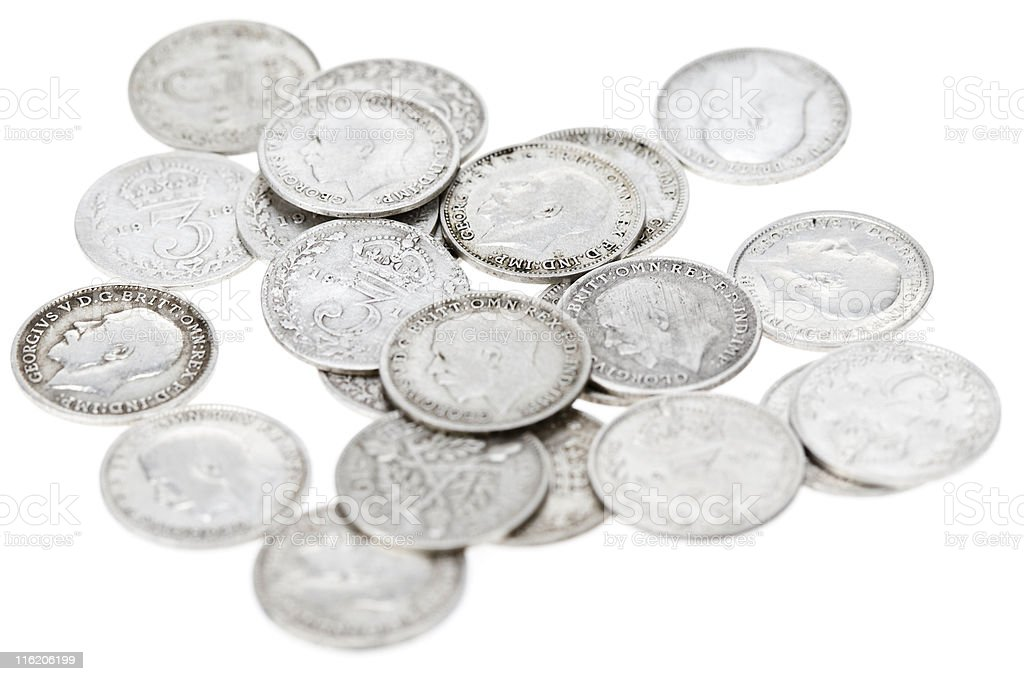 Silver Threepenny Bits royalty-free stock photo