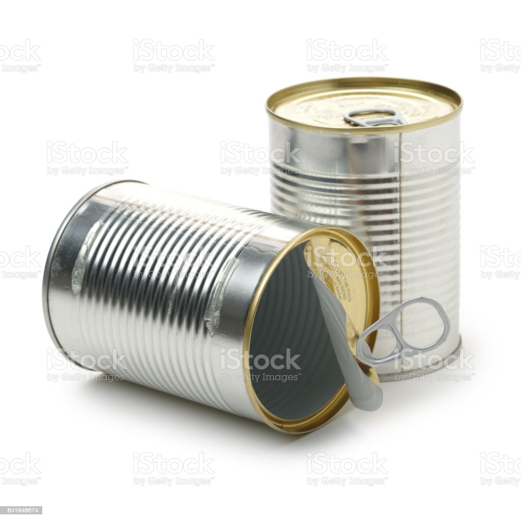 silver tin can isolated on a white background stock photo