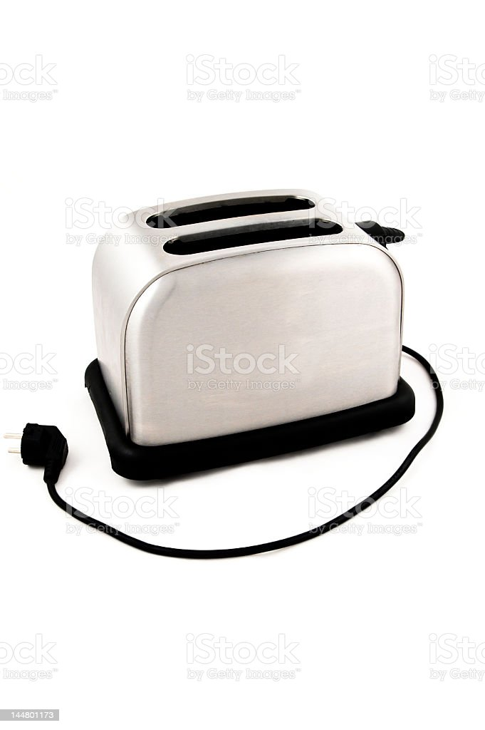 Silver toaster with cord on white background  stock photo