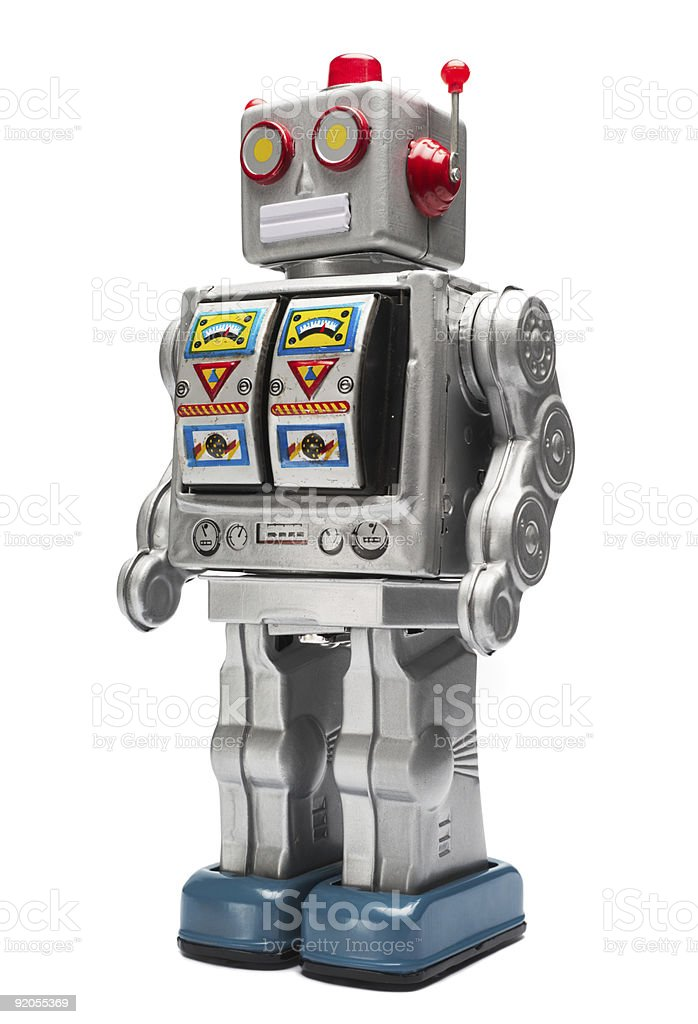 Silver toy tin robot with icons stock photo